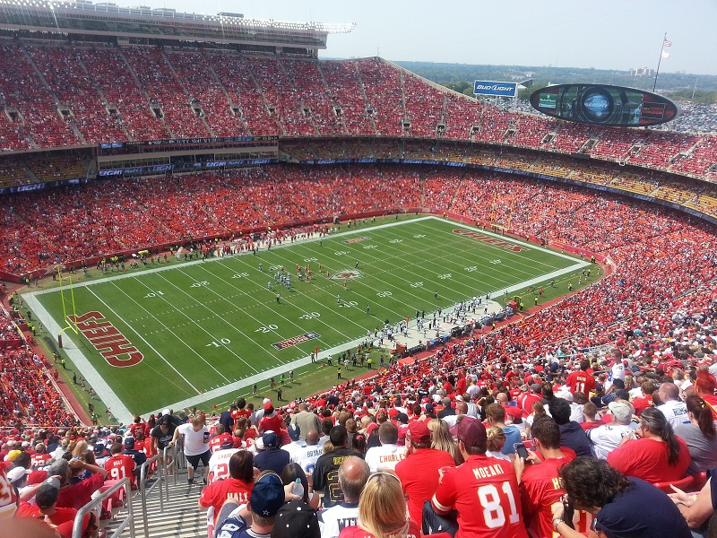 View of the playing field at Arrowhead Stadium, home of the Kansas City Chiefs