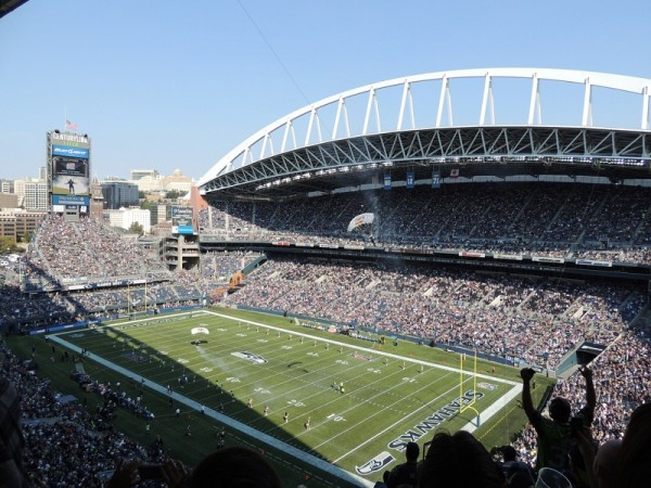 View of the playing field at CenturyLink Field, home of the Seattle Seahawks