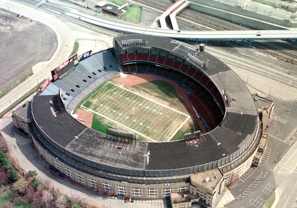 Aerial of Cleveland Municipal Stadium, former home of the Cleveland Browns