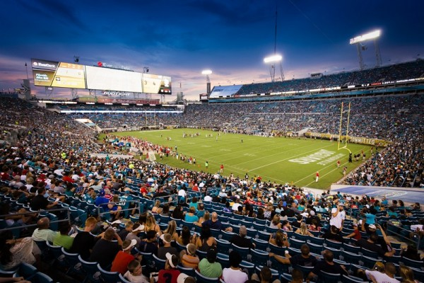 View of the playing field at EverBank Field, home of the Jacksonville Jaguars