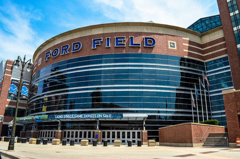 Outside Ford Field, home of the Detroit Lions
