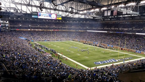 View of the playing field at Ford Field, home of the Detroit Lions