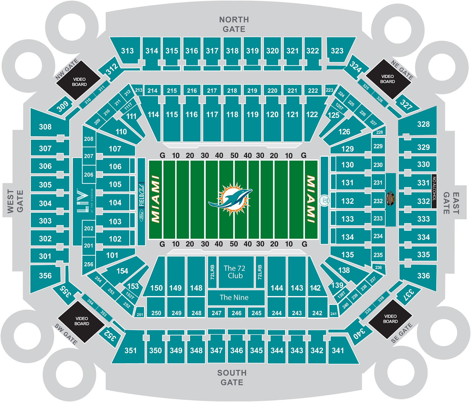 Hard rock stadium miami dolphins football stadium stadiums of seating chart malvernweather Image collections