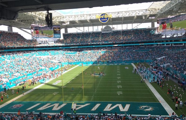 View from the end zone at Hard Rock Stadium