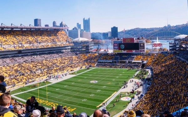 View from the end zone at Heinz Field, home of the Pittsburgh Steelers