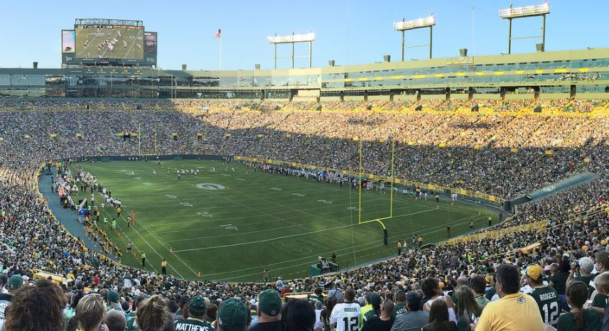 View of the playing field at Lambeau Field, home of the Green Bay Packers