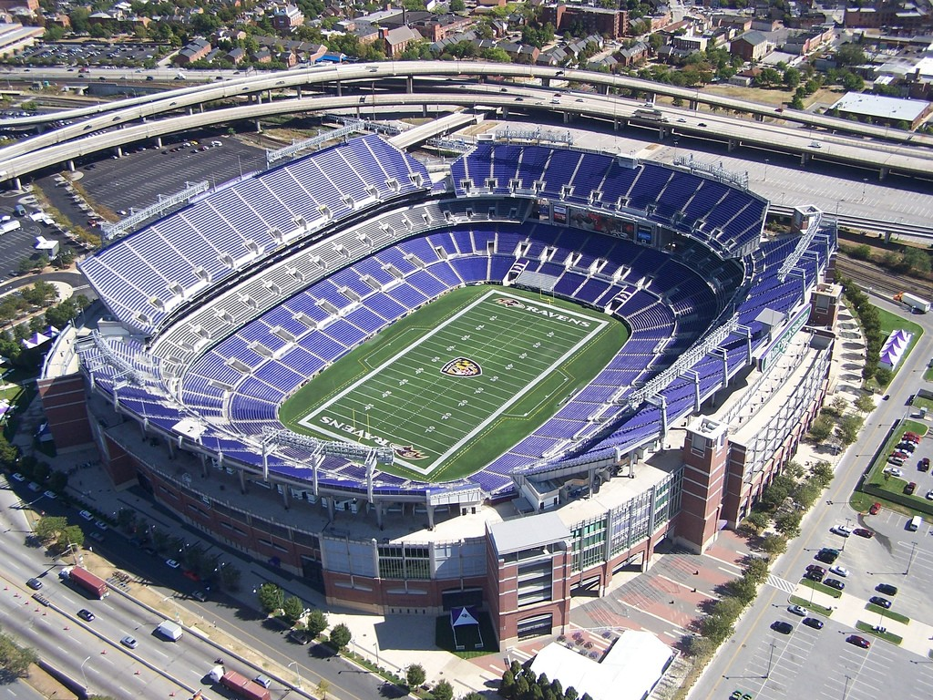 Aerial of M&T Bank Stadium, home of the Baltimore Ravens