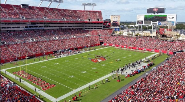 View of the playing field at Raymond James Stadium, home of the Tampa Bay Buccaneers