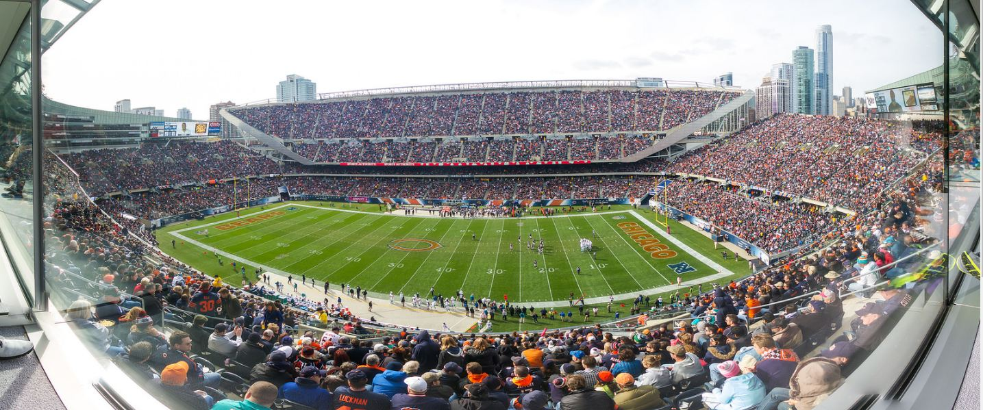 View of the playing field at Soldier Field, home of the Chicago Bears