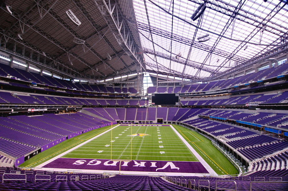 View of the playing field at US Bank Stadium, home of the Minnesota Vikings