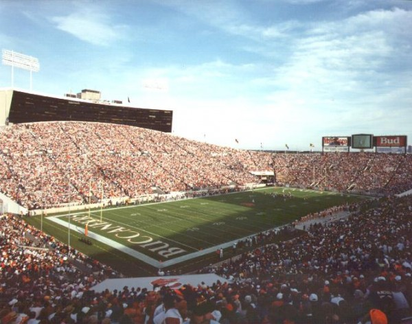 View of the playing filed at Houlihan Stadium, former home of the Tampa Bay Buccaneers