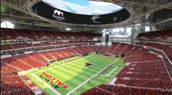 Rendering of Mercedes-Benz Stadium, future home of the Atlanta Falcons
