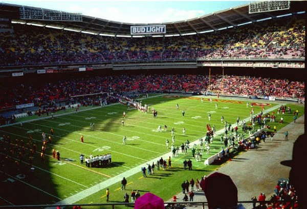 View of the playing field at RFK Stadium, former home of the Washington Redskins