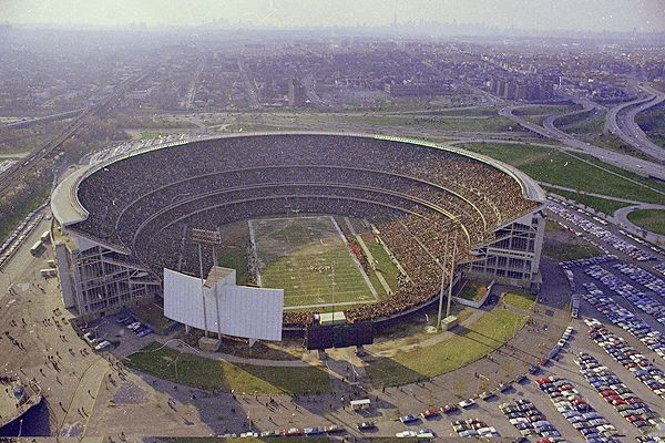 Aerial of Shea Stadium in football configuration, former home of the New York Jets