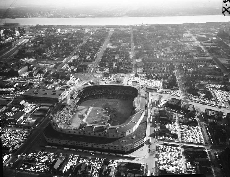 Aerial of Tiger Stadium, former home of the Detroit Tigers