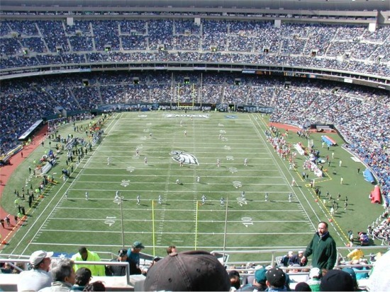 View of the field at Veterans Stadium, former home of the Philadelphia Eagles
