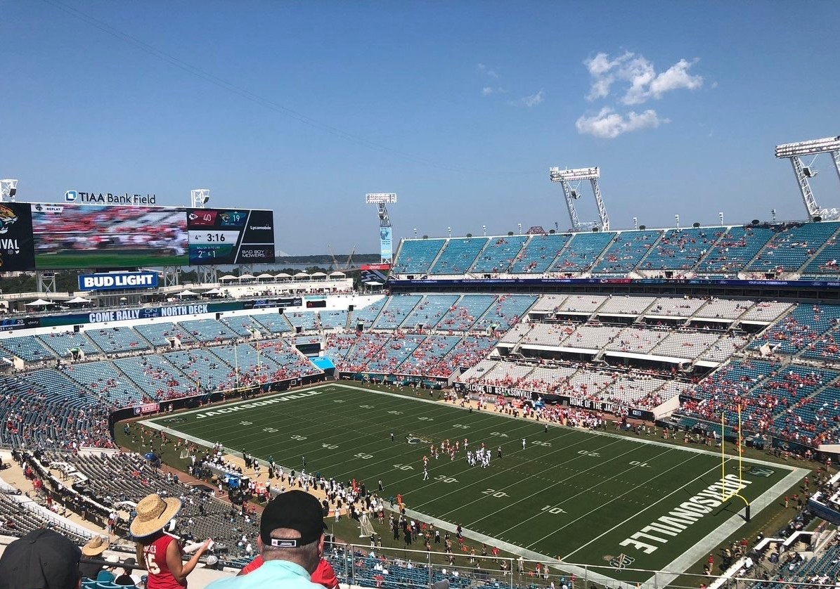 View of the playing field at TIAA Bank Field, home of the Jacksonville Jaguars
