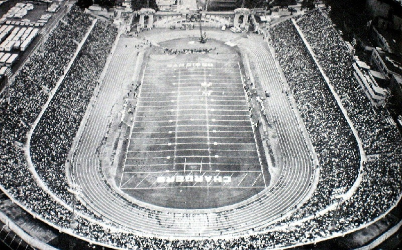 Aerial of Balboa Stadium, former home of the San Diego Chargers