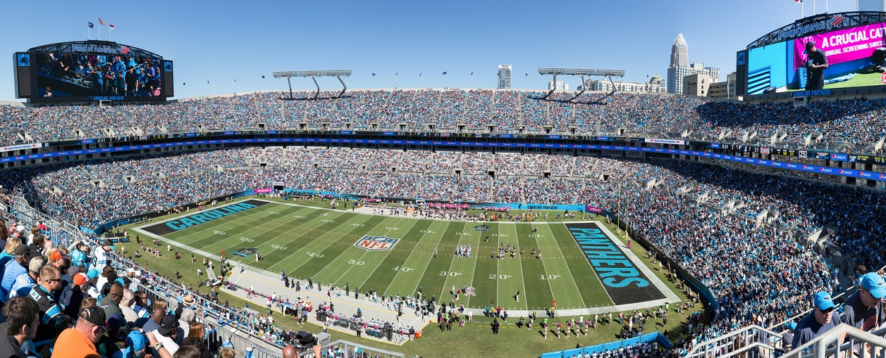 View from the upper deck at Bank of America Stadium, home of the Carolina Panthers