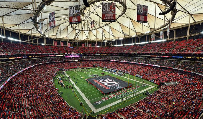 View from the upper deck at the Georgia Dome, home of the Atlanta Falcons - Picture: Mark Whitt