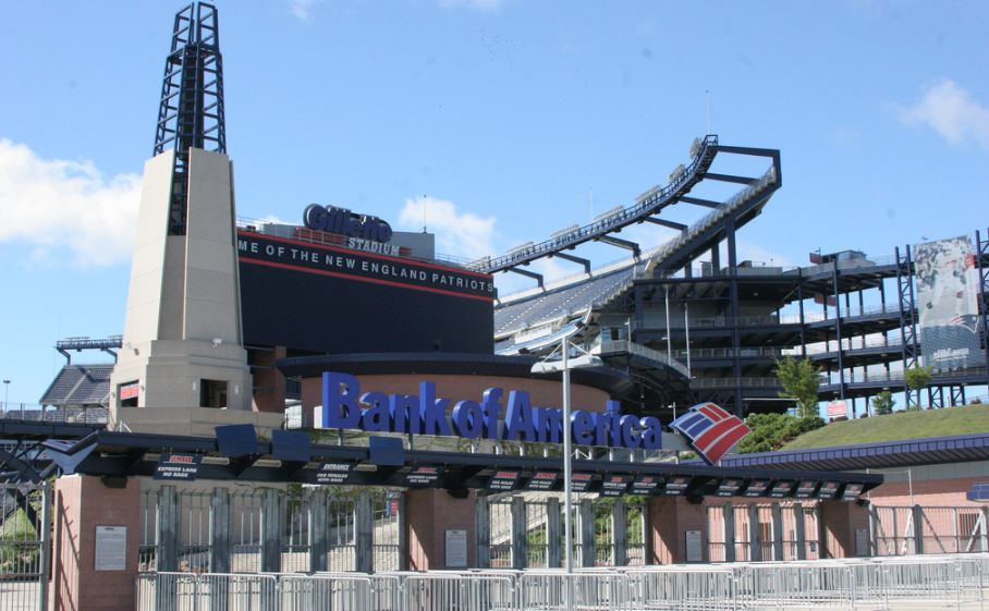 Outside Gillette Stadium, home of the New England Patriots