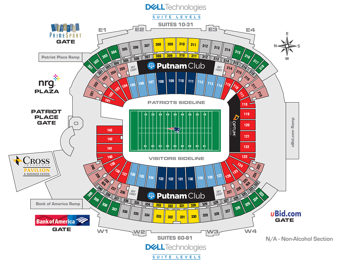 Gillette Stadium Seating Map Gillette Stadium, New England Patriots football stadium   Stadiums