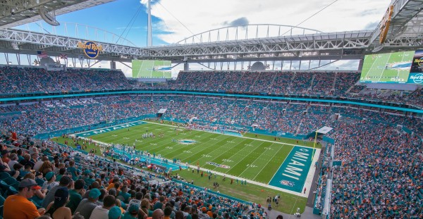 View from the upper deck of Hard Rock Stadium, home of the Miami Dolphins