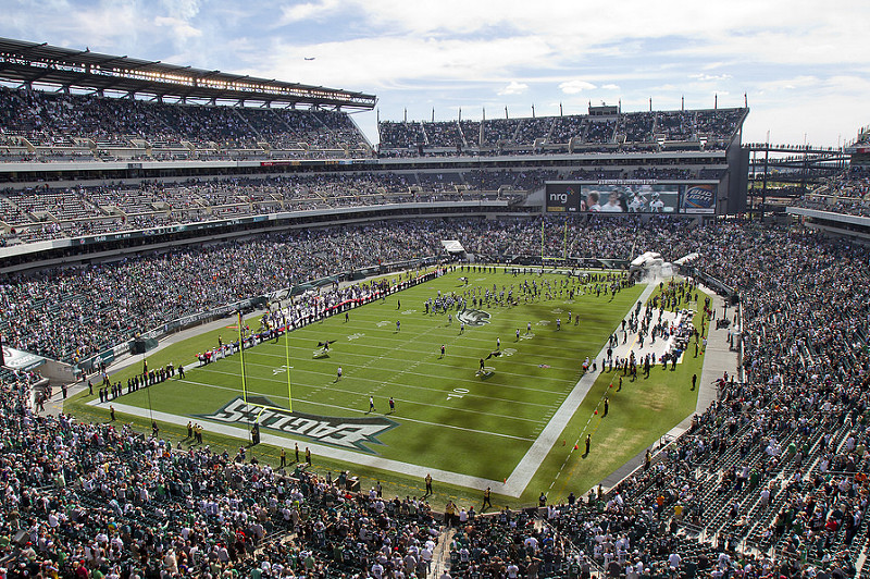 View of the playing field at Lincoln Financial Field, home of the Philadelphia Eagles