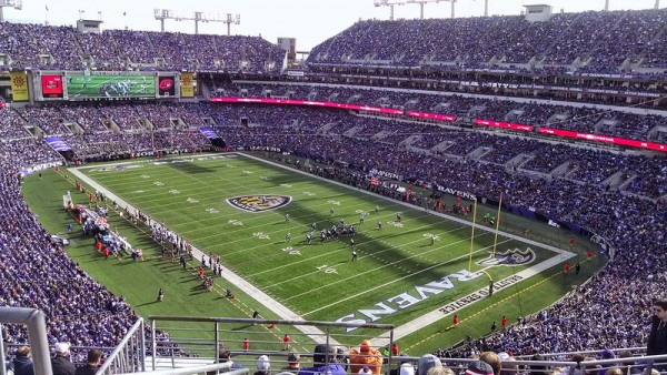 View of the playing field at M&T Bank Stadium, home of the Baltimore Ravens