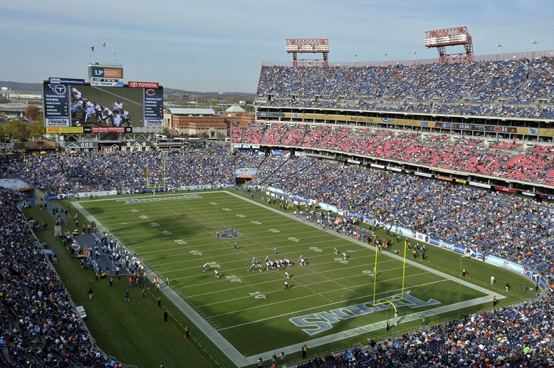 View of the playing field at Nissan Stadium, home of the Tennessee Titans