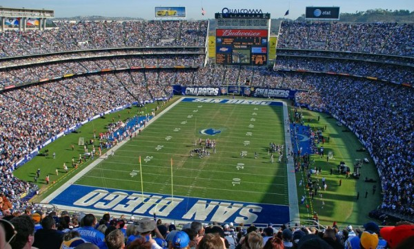 View of the field at Qualcomm Stadium, home of the San Diego Chargers - Picture: Mark Whitt