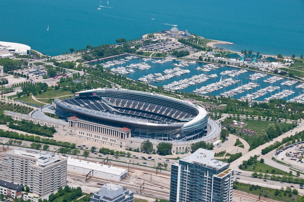 Aerial of Soldier Field, home of the Chicago Bears