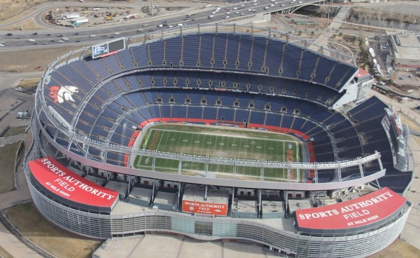 Aerial of Sports Authority Field, home of the Denver Broncos