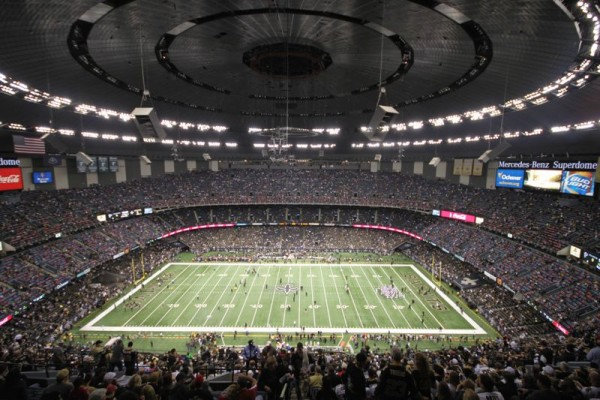 View from the upper deck at the Superdome, home of the New Orleans Saints