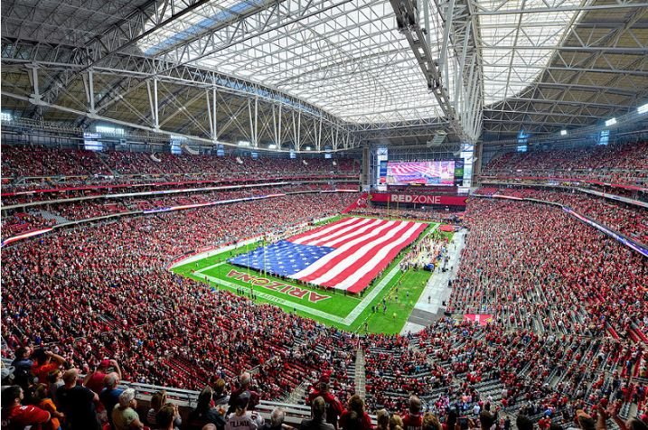 View of the playing field at State Farm Stadium, home of the Arizona Cardinals - Picture Mark Whitt