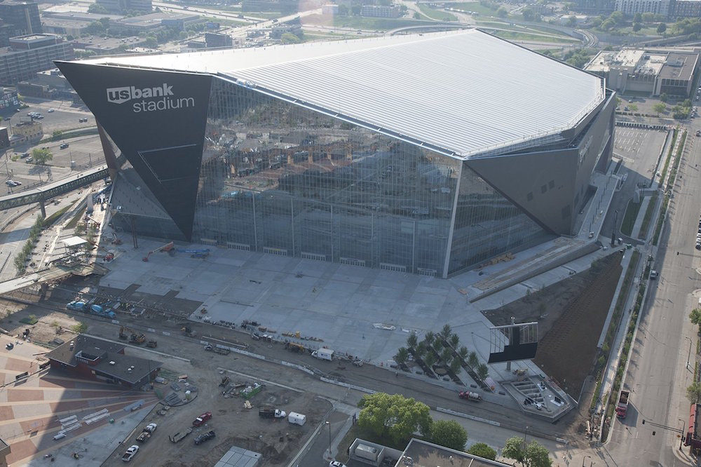 Aerial of US Bank Stadium, home of the Minnesota Vikings