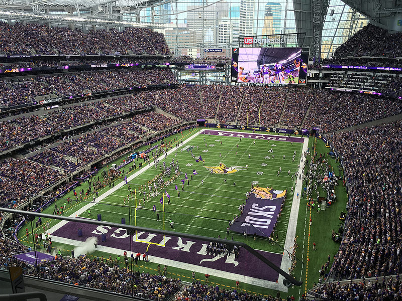 View of the playing field at US Bank Stadium