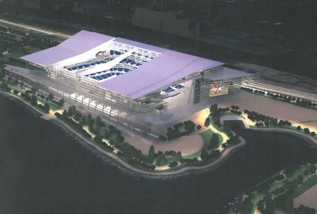 Rendering of a proposed Buffalo Bills football stadium