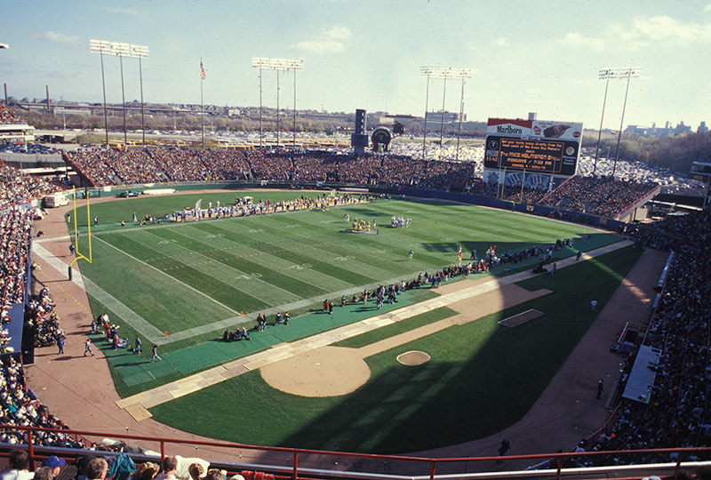 View of the field at County Stadium, former home of the Green Bay Packers