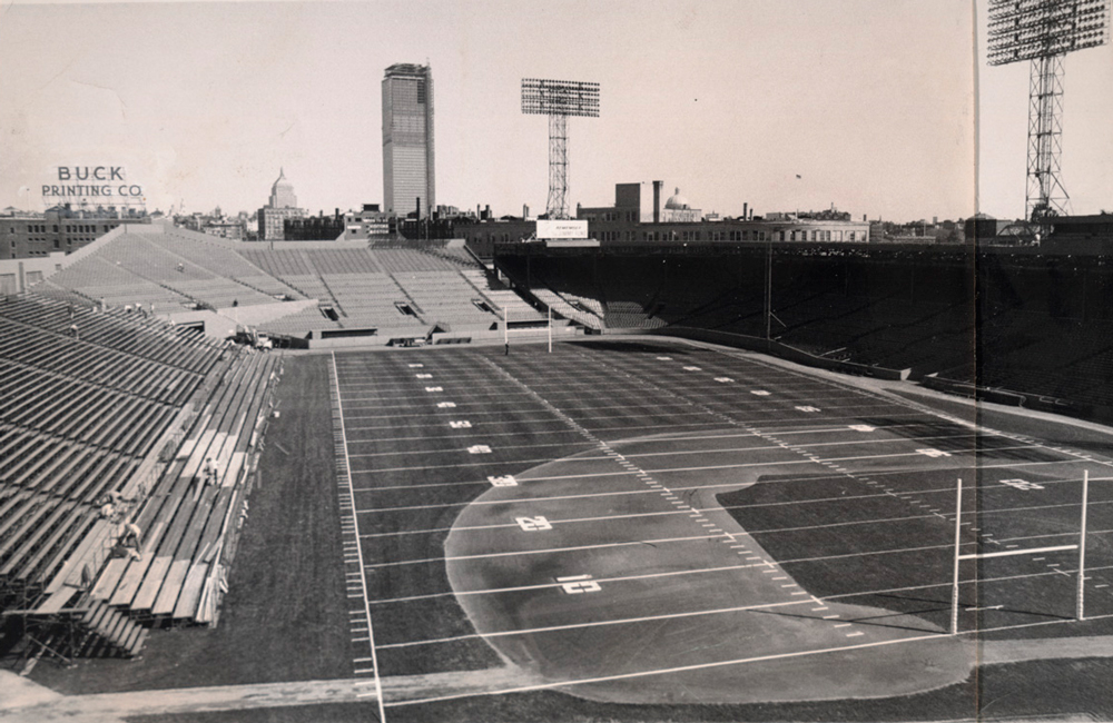 View of the playing field at Fenway Park, former home of the Boston Redskins and New England Patriots