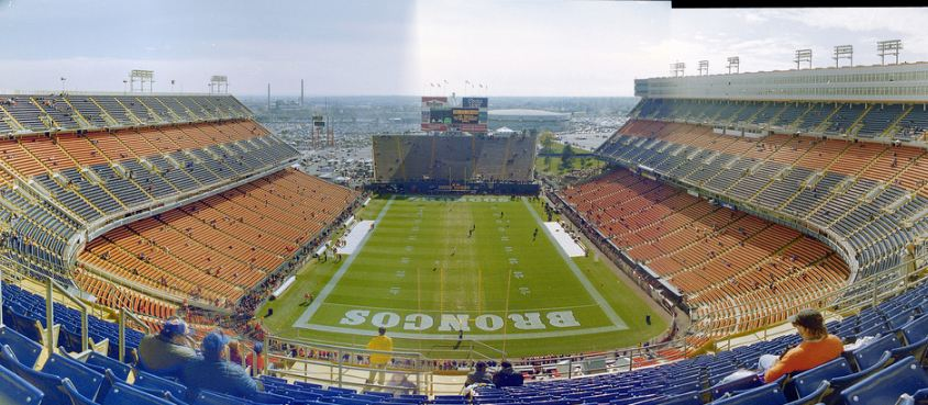 View from the upper deck at Mile High Stadium, former home of the Denver Broncos