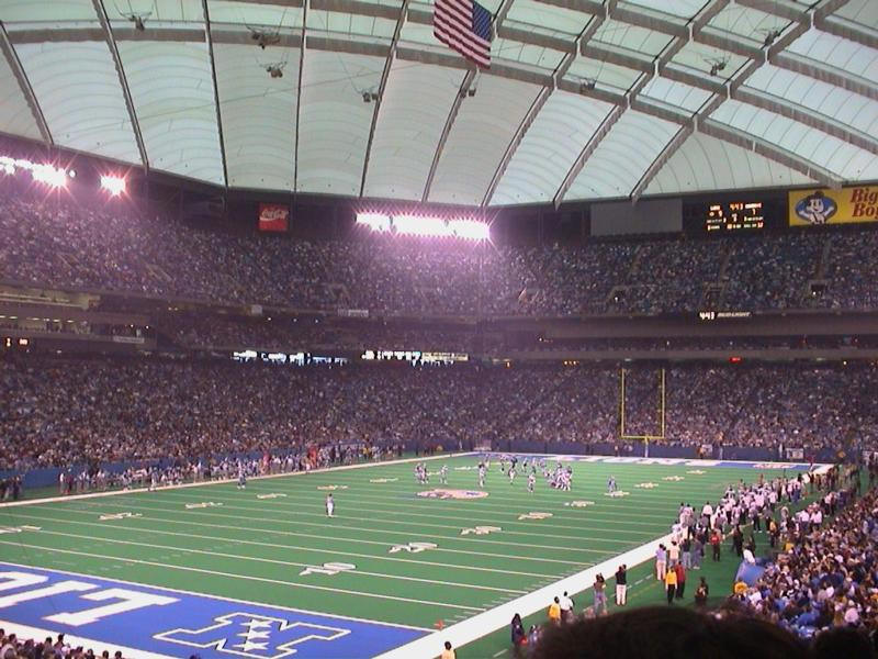 View of the playing field at the Silverdome, former home of the Detroit Lions