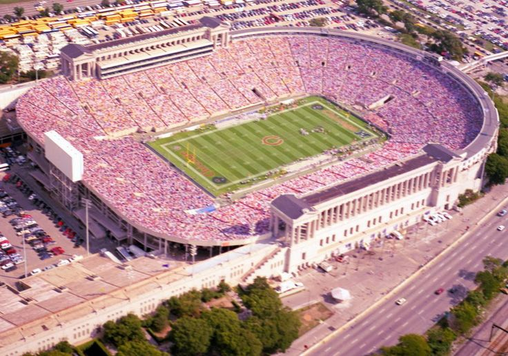 Aerial of old Soldier Field, former home of the Chicago Bears