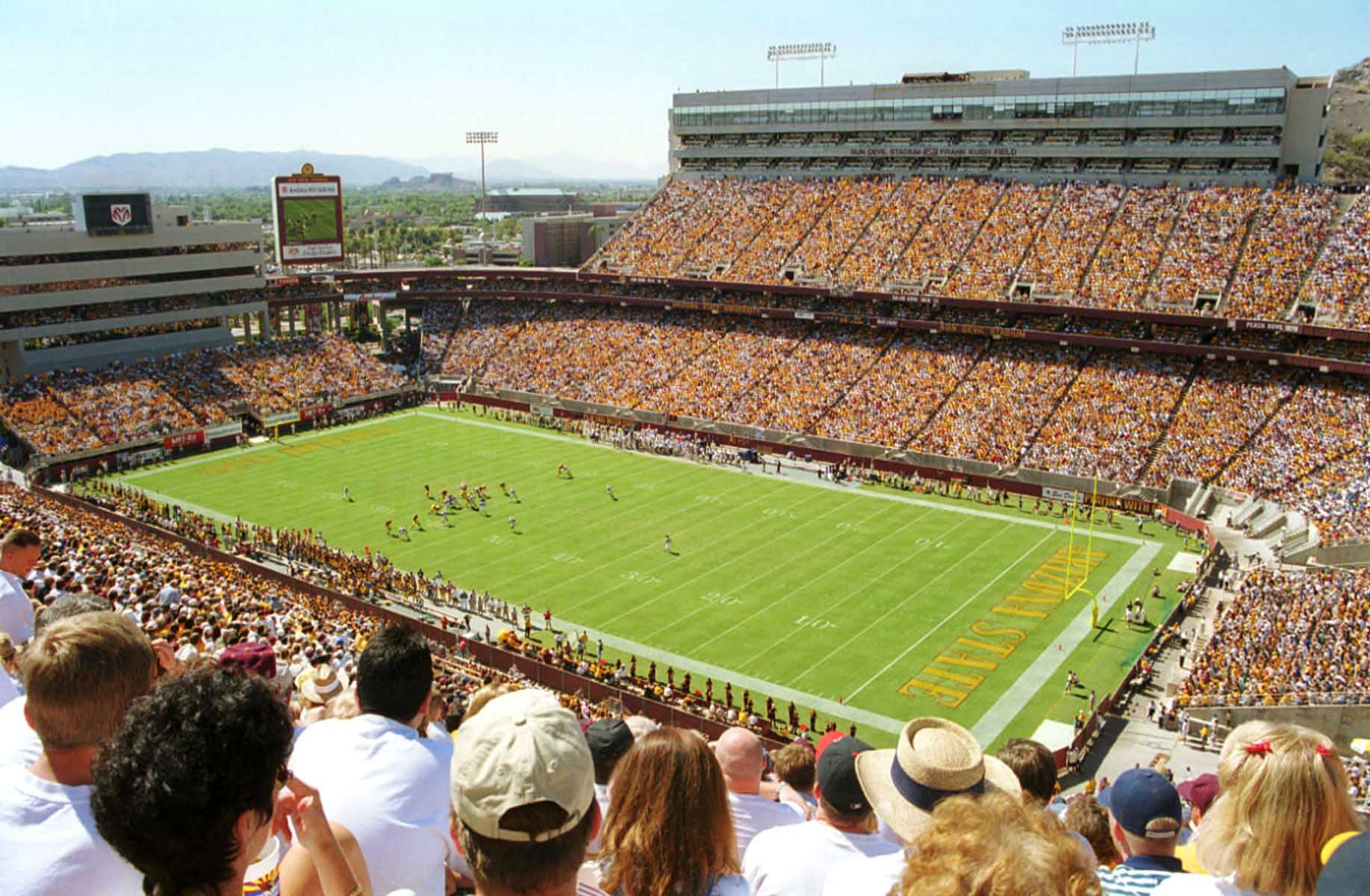 View of the playing field at Sun Devil Stadium, former home of the Arizona Cardinals