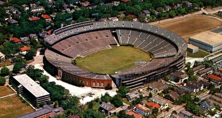 Aerial of Tulane Stadium, former home of the New Orleans Saints