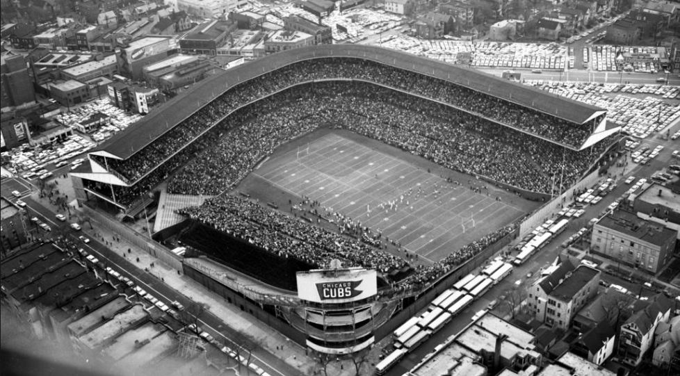 Aerial of Wrigley Field, former home of the Chicago Bears