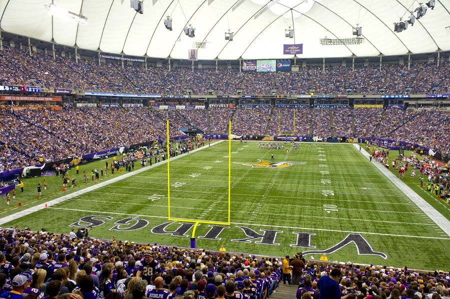 View from the end zone at the Metrodome, former home of the Minnesota Vikings