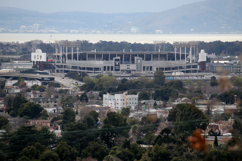 OAKLAND, CA - JANUARY 14: A view of the Coliseum is seen from the hills in East Oakland, Calif., on Monday, Jan. 14, 2019. The Oakland Athletics have pitched a redevelopment plan for the Coliseum site. (Jane Tyska/Bay Area News Group)